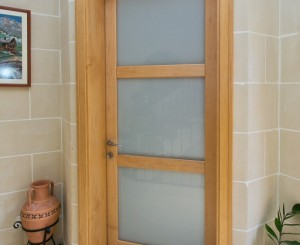 Internal Door in Solid Maple with Opal Glass