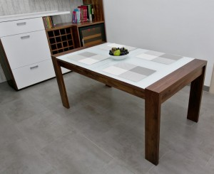 Dining Table in American Walnut and White Glass